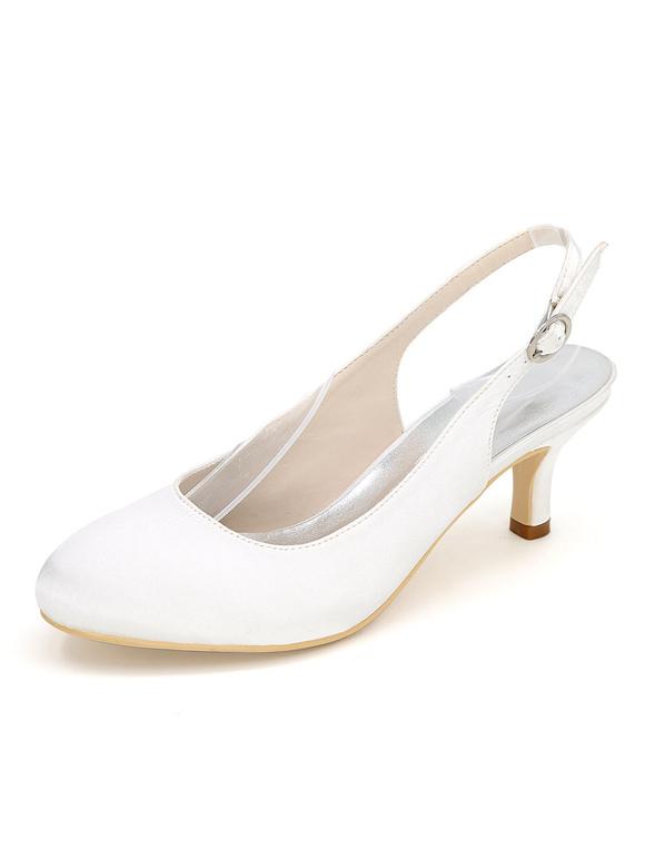 Zapatos de tacón de kitten de punter Peep Toe de seda sintética de marfil de lujo Fiesta de bodas HQdLZBK