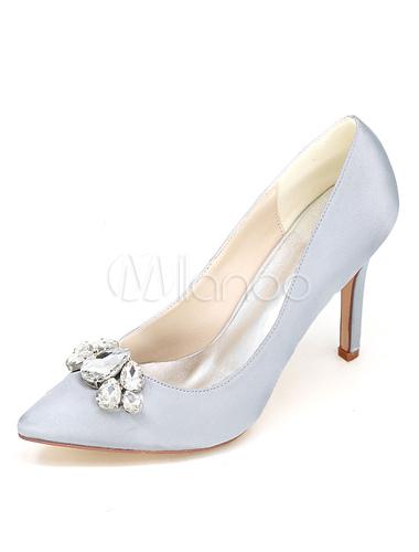 Zapatos de tacón de stiletto de puntera puntiaguada de satén azul elegantes para boda lDEbeDf