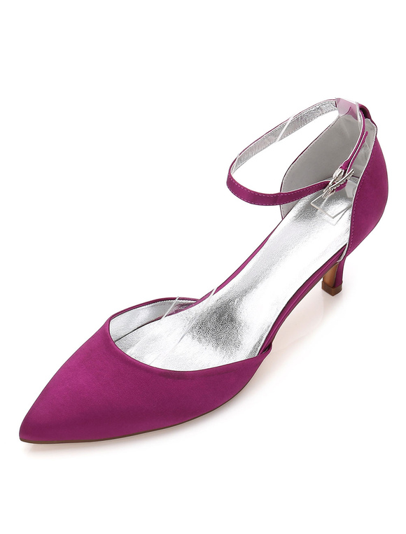 Zapatos de tacón de kitten de puntera puntiaguada de seda & satén elegantes Fiesta de bodas QdJLj