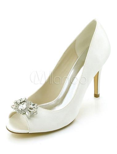 Zapatos de punter Peep Toe de tacón de satén de stiletto elegantes para boda w4u2kewx