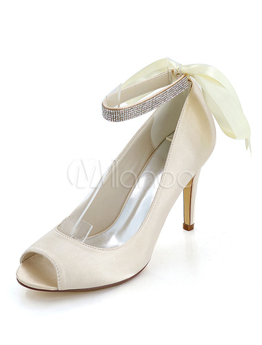 8620c689c17 ... Purple Wedding Shoes Satin High Heels Peep Toe Bow Rhinestones Ankle Strap  Bridal Shoes-No ...