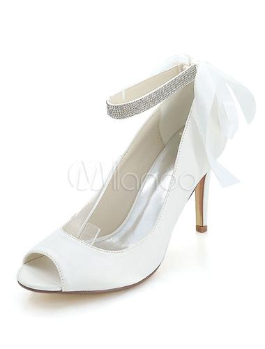 Lovely ... Purple Wedding Shoes Satin High Heels Peep Toe Bow Rhinestones Ankle  Strap Bridal Shoes No ...