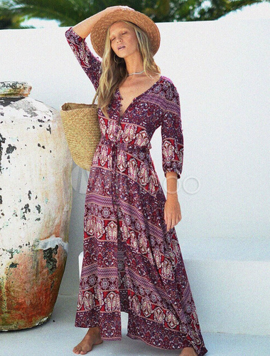 b0983e8efe ... Women Maxi Dresses Boho V Neck Half Sleeve Burgundy Printed Long Dress-No.2  ...