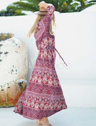 b9132633f7 ... Women Maxi Dresses Boho V Neck Half Sleeve Burgundy Printed Long Dress -No.4