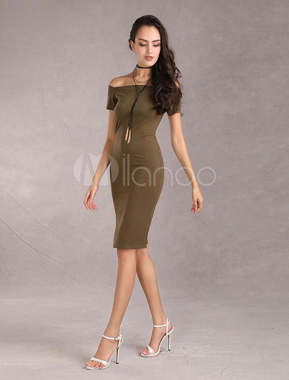 robe moulante longue sexy fourreau bateau robe bodycon chasse vert manches courtes boutique. Black Bedroom Furniture Sets. Home Design Ideas