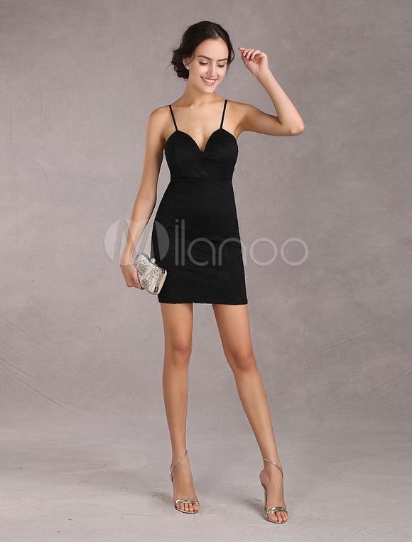 free shipping 199dd 0a261 Sexy vestito nero corto di pizzo per donna con scollatura a cuore