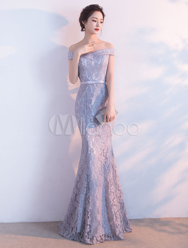 b5f5dc44e625 ... Lace Evening Dress Mermaid Off The Shoulder Evening Gowns Light Grey  Sash Maxi Formal Dress- ...