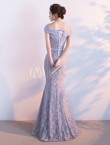 44396252d3ae ... Lace Evening Dress Mermaid Off The Shoulder Evening Gowns Light Grey  Sash Maxi Formal Dress-