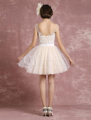 Vintage Hochzeit Kleid Illusion Sweetheart kurze Brautkleid Tüll ...