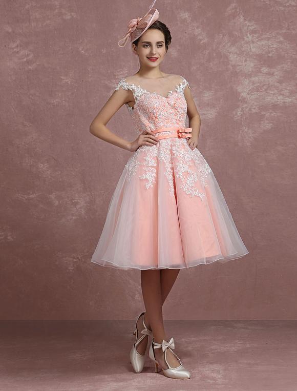 Mariage Vintage robe Blush rose dentelle appliques robe de mariée courte  Illusion ,No.2