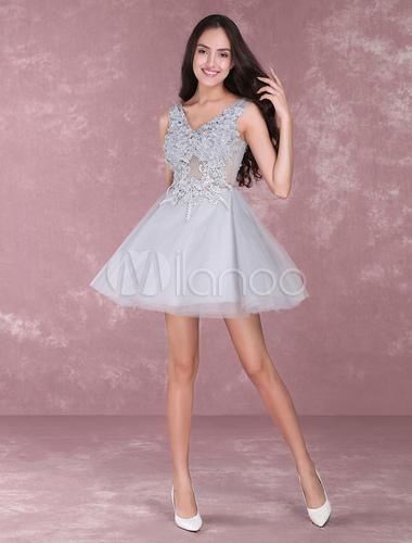 Light Grey Homecoming Dresses Lace Flowers Short Prom Dresses V Neck ...