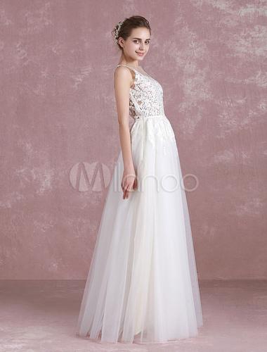 Summer Wedding Dresses 2018 Boho Beach Bridal Dress Illusion Lace ...