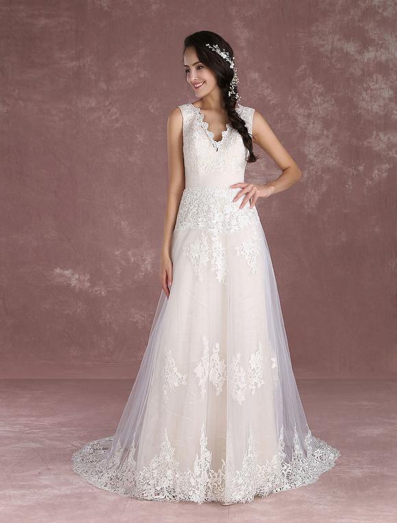 vestido de novia de verano 2019 boho champaña de playa encaje de