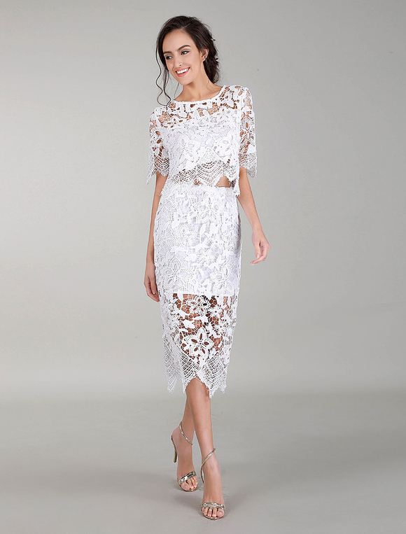 Vestido De Cóctel Blanco Vestidos De Encaje De Dos Piezas Vestidos De Noche Bodycon