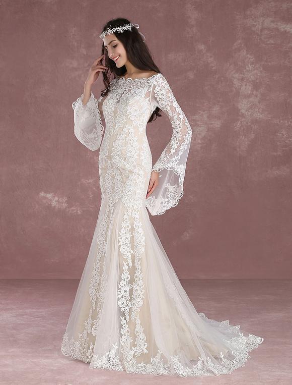 579b51a182 ... Summer Wedding Dresses 2019 Boho Beach Mermaid Bridal Dress Lace  Applique Keyhole Bateau fishtail Champagne Bridal ...