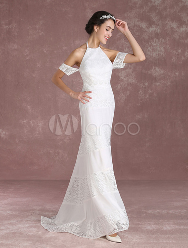 d7c0e7b4ffb ... Summer Wedding Dresses 2019 Boho Lace Mermaid Bridal Gown Halter Off  The Shoulder Backless Chiffon Patchwork ...