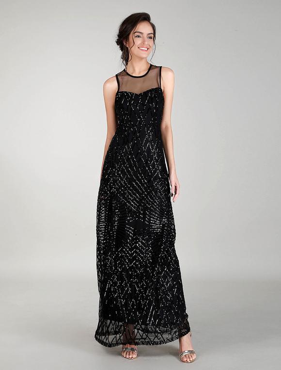 Vestidos De Noche Negros Vestido Largo De Baile De Lentejuelas Vestido De Cóctel Largo Con Cuello De Ilusión