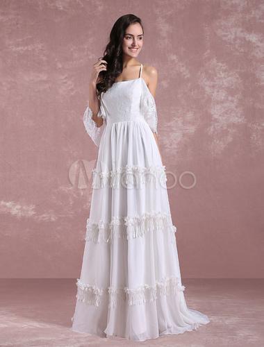 Boho Wedding Dresses 2018 Summer Lace Chiffon Beach Bridal Gown Off ...