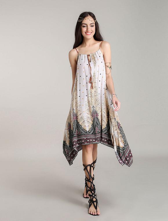 on sale 7cba6 3e04f Vestiti floreali di spostamento Vestito dalla Boemia del vestito dal Midi  Vestito da spiaggia estivo asimmetrico