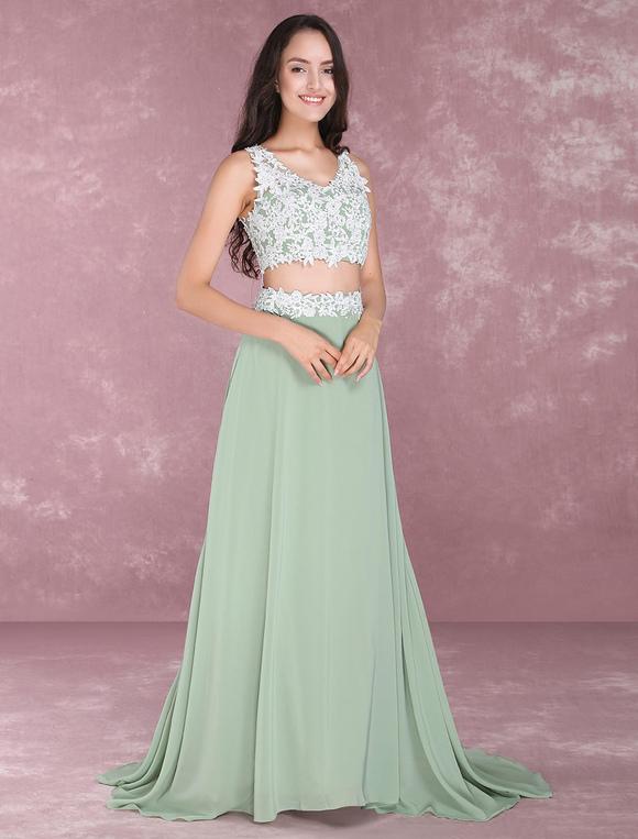 Chiffon Prom Dresses 2 Piece Beading Occasion Dress Sage Green Lace ...