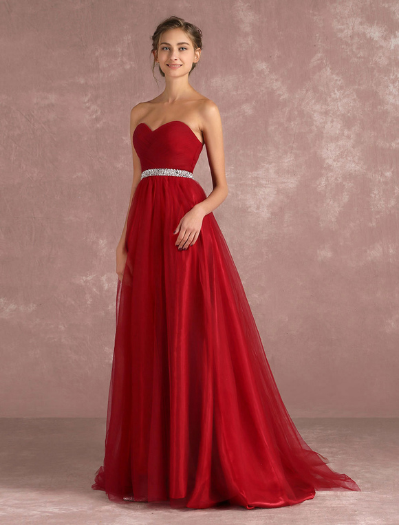 Ballkleid abiballkleid 2018 Tüll Abendkleid 2018 rot eine Linie Prom ...