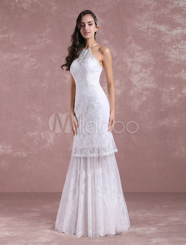 Boho Summer Wedding Dresses 2018 Mermaid Lace Halter Bridal Dress ...