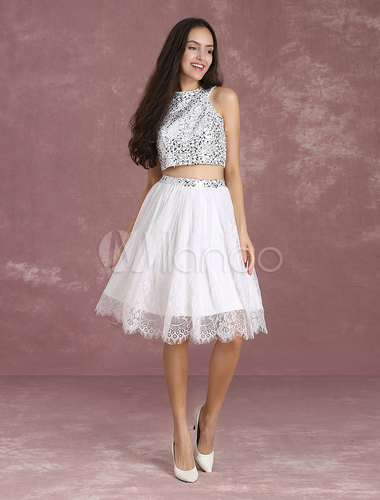 db0ce7d0d ... Two Piece Homecoming Dress Ivory Lace Short Prom Dress Crop Top Sequin  A Line Knee Length ...