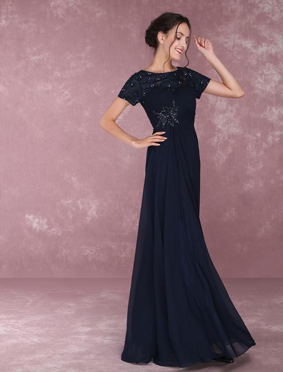 b388fa15e0 Vestido para la madre de los novios de color azul marino oscuro con escote  redondo con ...