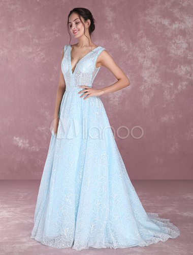 Lace Pageant Dress Pastel Blue V Neck Prom Dresses Beading Illusion