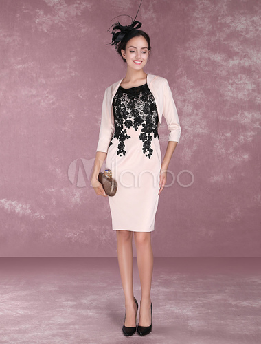 Two Piece Mother Of The Bride Dresses Nude Lace Sheath Cocktail