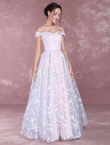 Lace Pageant Dresses Soft Pink Off The Shoulder Prom Dress Floor