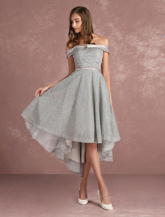 robe de bal 2018 robe de bal paillettes grise asym trique robe de cocktail sans manches robe de. Black Bedroom Furniture Sets. Home Design Ideas