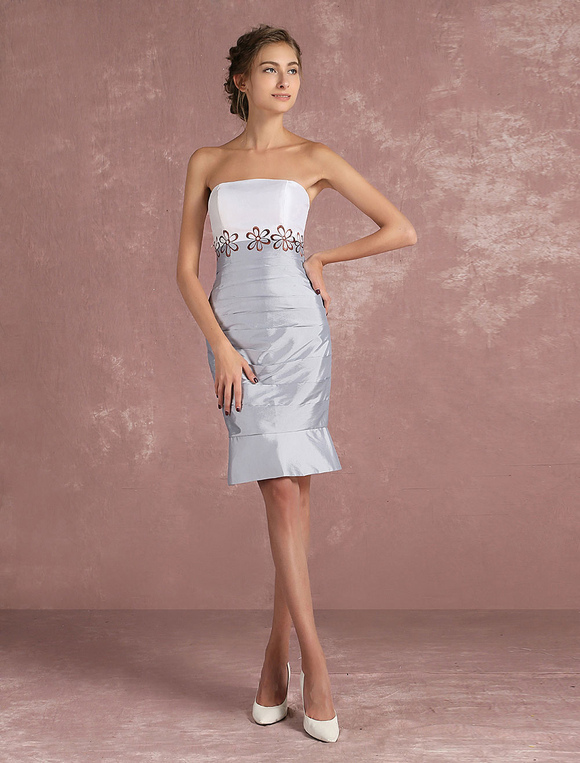 6b80d65589b ... Mother Of The Bride Dress Silver Taffeta Sheath Cocktail Dress 2 Piece  Embroidered Short Party Dress ...