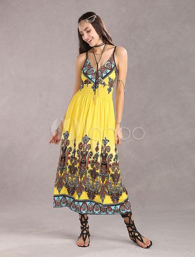 Milanoo / Beautilful Yellow Suspender Ice Silk Women's Summer Dress
