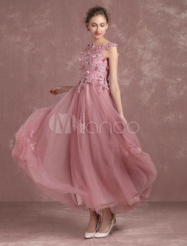 ... Abito da sera rosa fiore Tull A linea in rilievo senza maniche  Homecoming vestito pizzo- ... 694dfe4c3b4