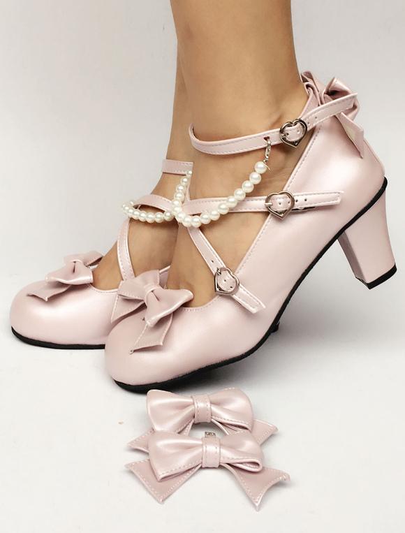Zapatos de lolita de PU de puntera redonda con lazo de color rosado de perla estilo street wear wuMAzM