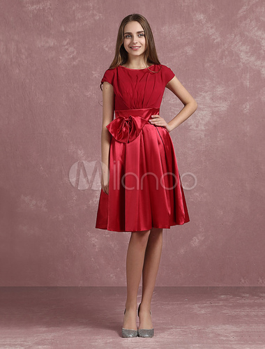 0d9134cdf8 ... Red Prom Dresses 2019 Short Homecoming Dress A Line Pleated Satin Jewel  Short Sleeve Knee Length ...