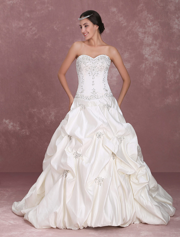 Sweetheart Bridal Gown with Beads - Milanoo.com