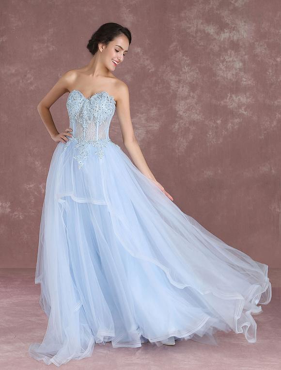 Vestiti Da Sposa Azzurri.Vestito Da Sposa Blu Azzurro Pastello Svasato Senza Spalline Con