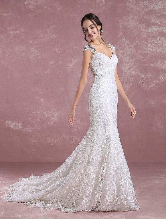 Summer Wedding Dresses 2018 Lace Mermaid Bridal Dress Ivory ...