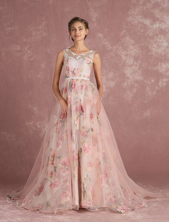 99539f4a889 ... Pink Prom Dresses 2019 Long Floral Print Organza Pageant Dress Backless  Chapel Train Party Dress- ...