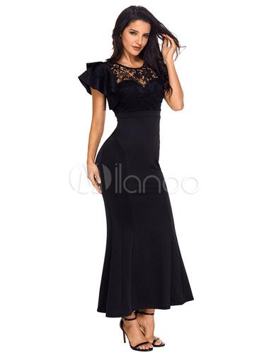 ... Vestido ajustado largo Vestido de fiesta negro Vestido ajustado de encaje  asimétrico para las mujeres- ... 0058688ee127