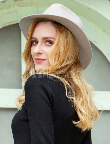 ce4cdb9fa69eae ... Vintage Fedora Hat Wool Light Grey Winter Panama Hats For Women-No.6