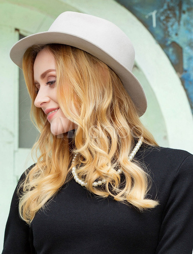 b3a876a3bedafd ... Vintage Fedora Hat Wool Light Grey Winter Panama Hats For Women-No.5 ...