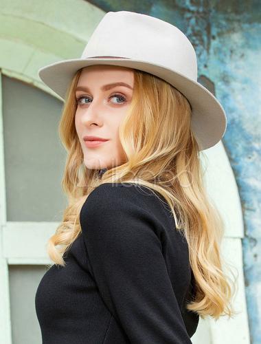 641e67bb7ffaa6 ... Vintage Fedora Hat Wool Light Grey Winter Panama Hats For Women-No.3 ...