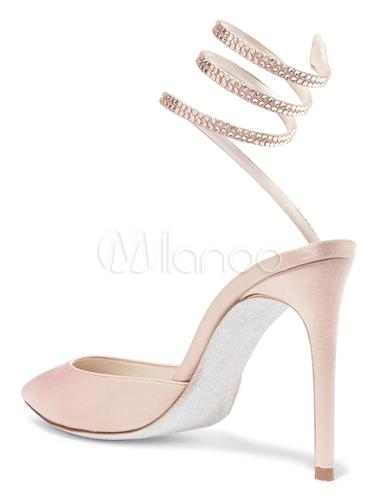 Zapatos de puntera puntiaguada de tacón de stiletto de satén con pedreríaestilo moderno para boda sxhhj