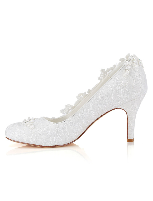 a860237a17ef ... Lace Wedding Shoes Round Toe Slip On Bridal Shoes Women High Heels-No.2  ...