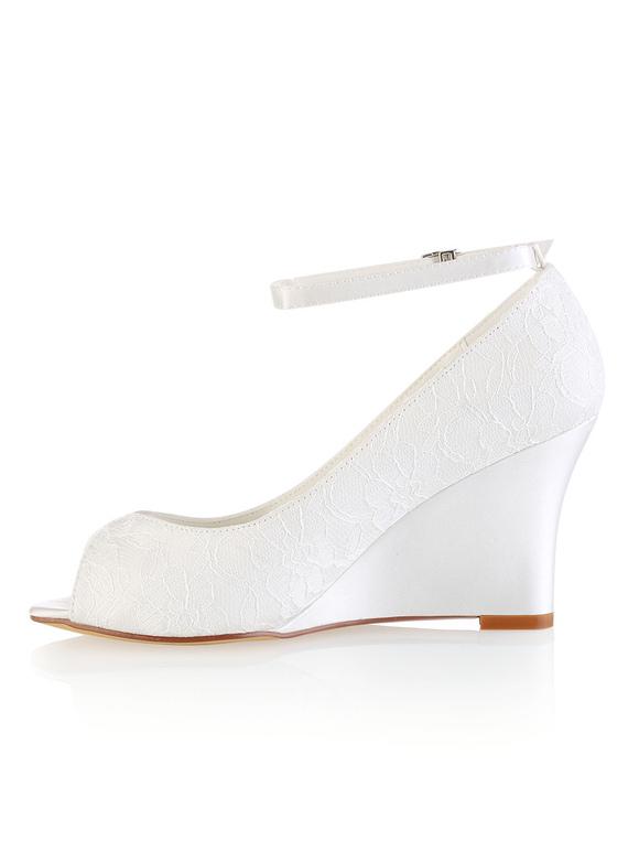 zapatos de novia de encaje de color martil zapatos con cuña de punta abierta zapatos de novia con tirantes a todillo YfIhE