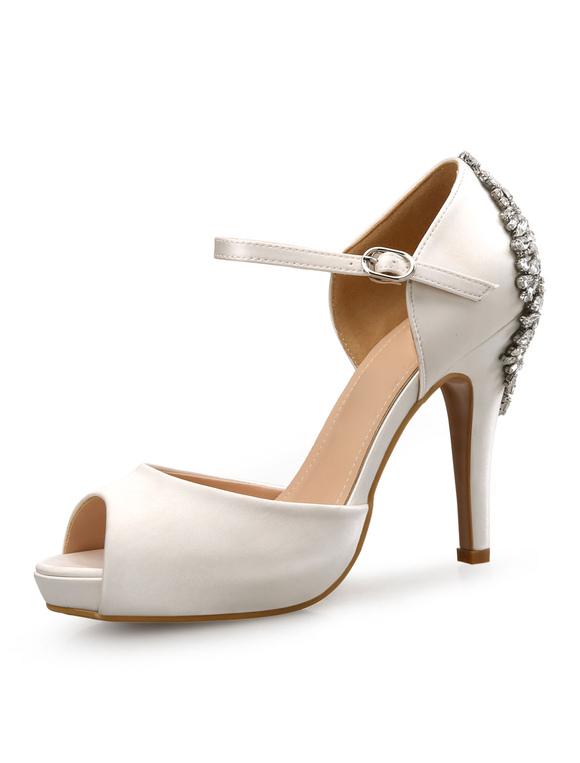 Zapatos de tacón de stiletto de punter Peep Toe de satén estilo moderno para boda mdHPZ1