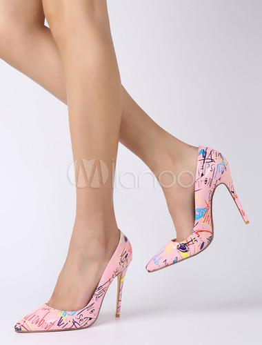 Azul (Navy) Zapatos de tacón de puntera puntiaguada de cuero sintético rosa con estampado de tacón de stiletto  Talla 41 Normal  Negro (Schwarz 01000)  Azul (Blue Fir/White/Black) 6ayLg6tfo8